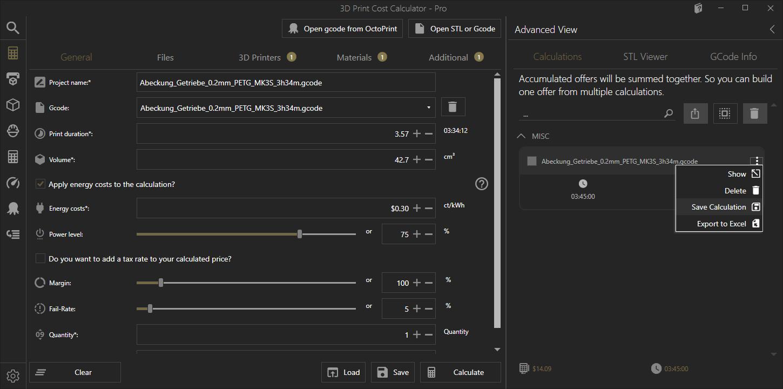 Kalkulation aus Liste speichern