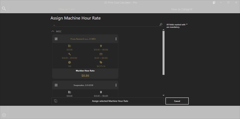 Stundensatzberechnung auswählen