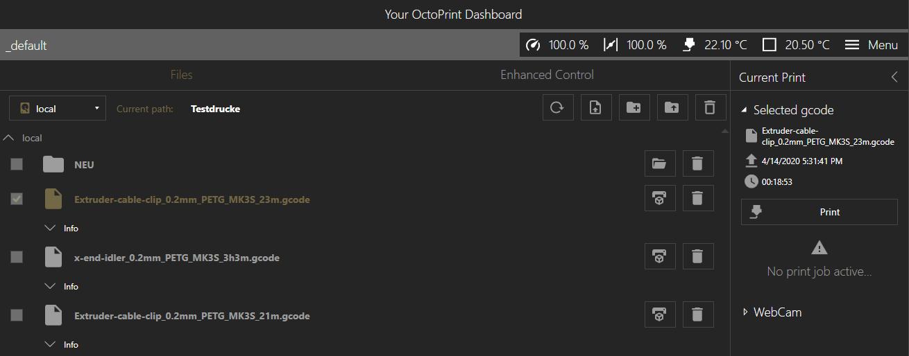 Druckauftrag starten im OctoPrint Dashboard