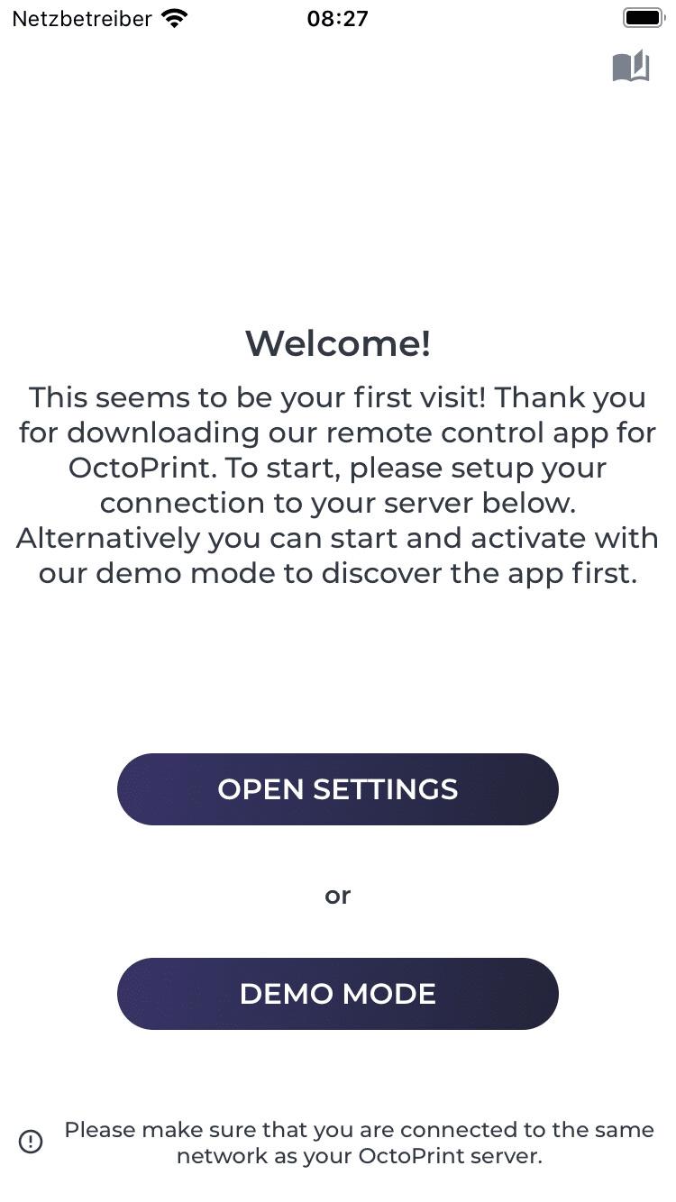 OctoPrint einrichten im Startbildschirm