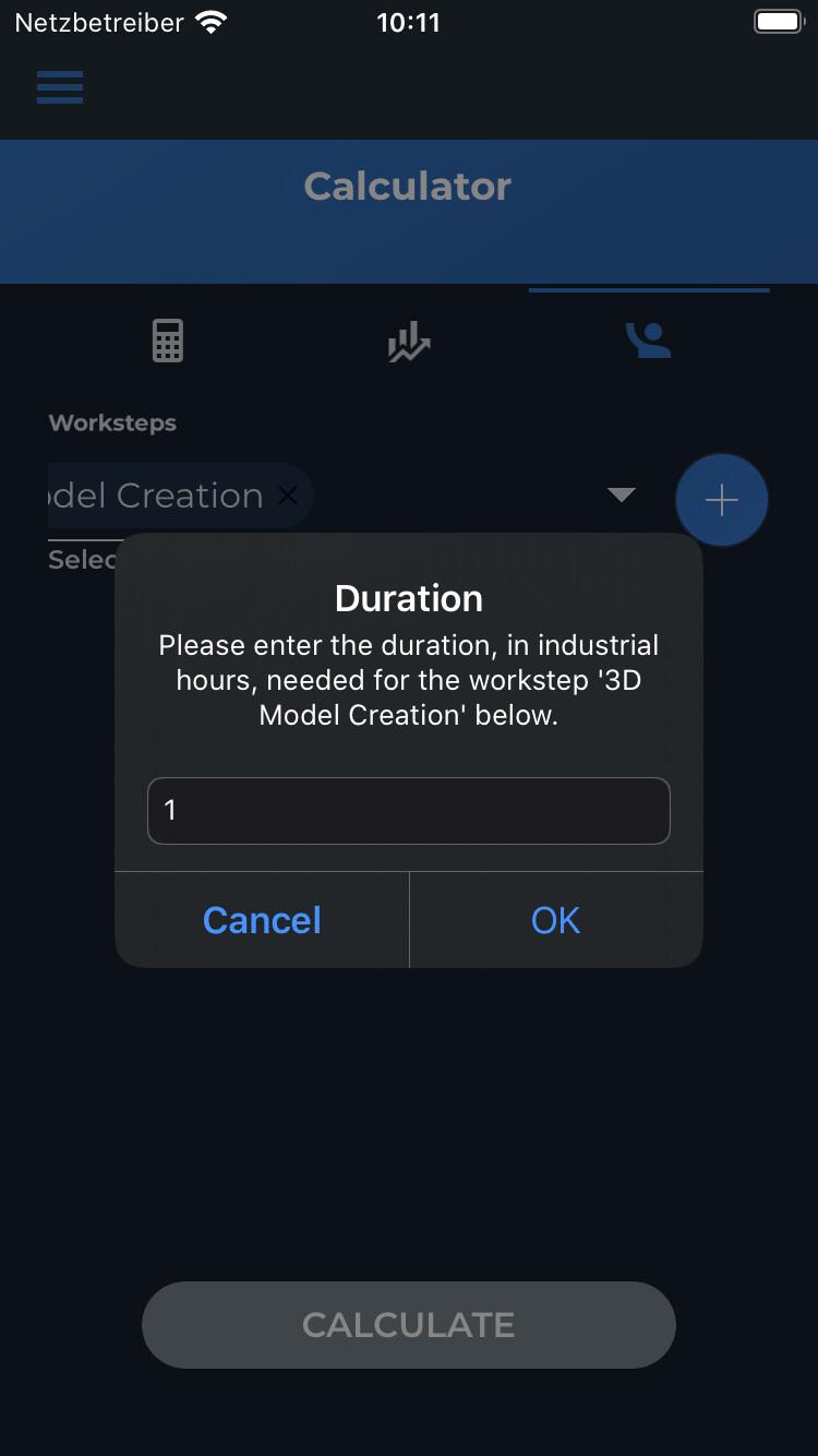 Dauer für Arbeitsschritt