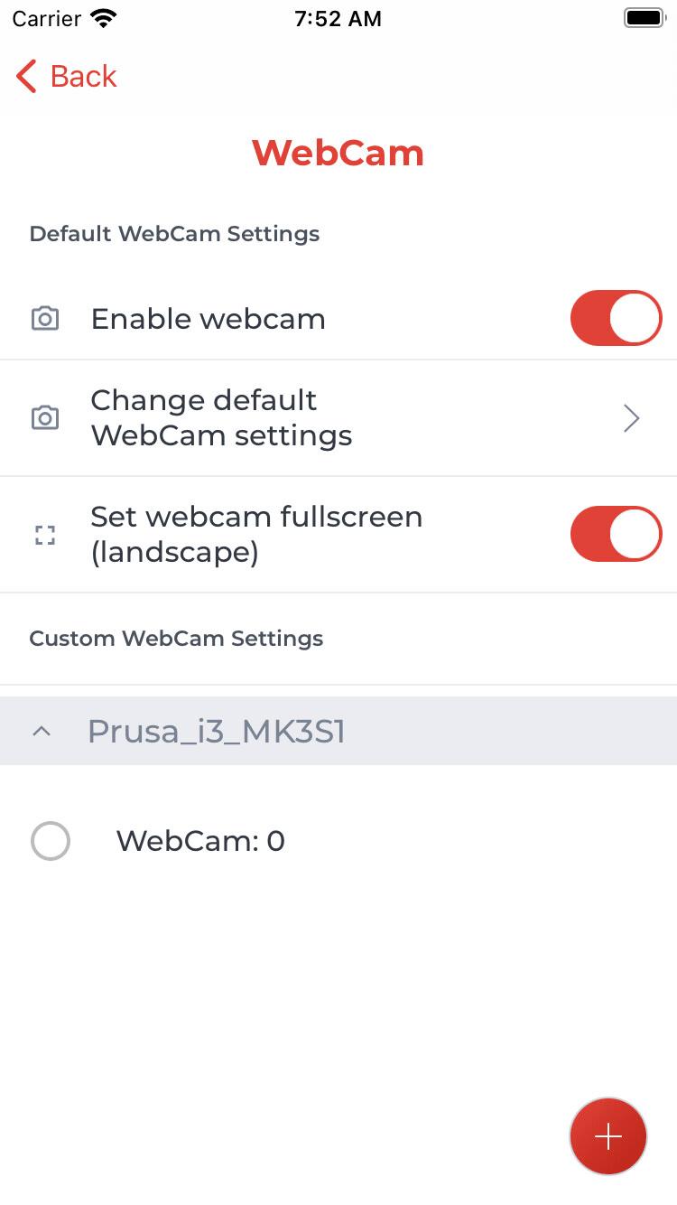Erweiterte WebCam-Einstellungen (iOS)