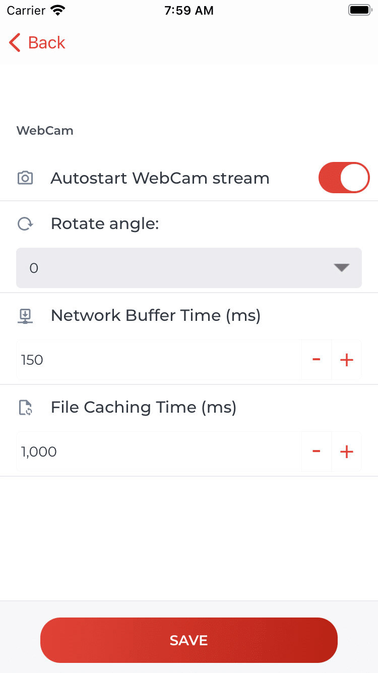 Standard-Einstellungen für WebCam (iOS)