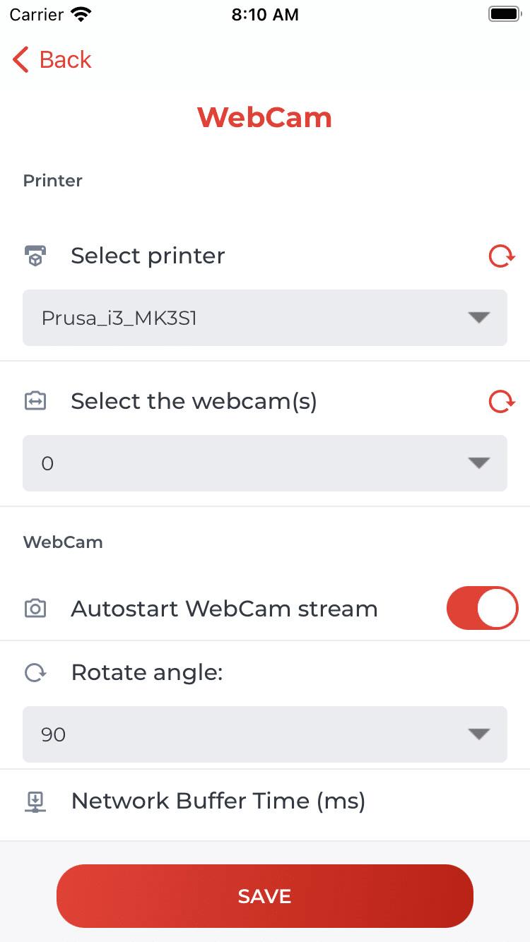 Drucker & WebCam spezifischen Einstellungen (iOS)