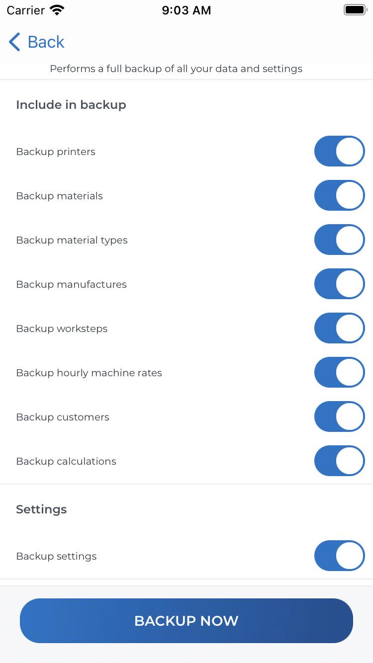 Benutzerdefinierte Datensicherung (iOS)