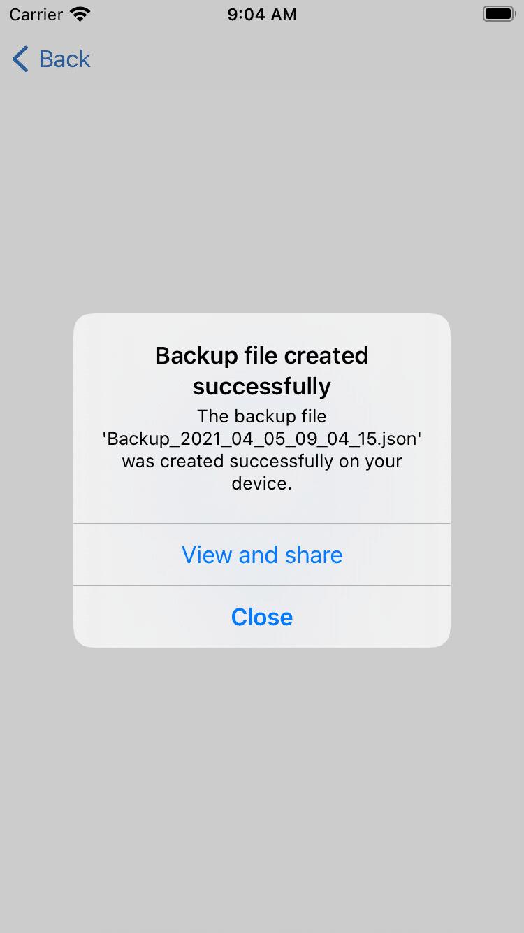 Datensicherung erfolgreich (iOS)