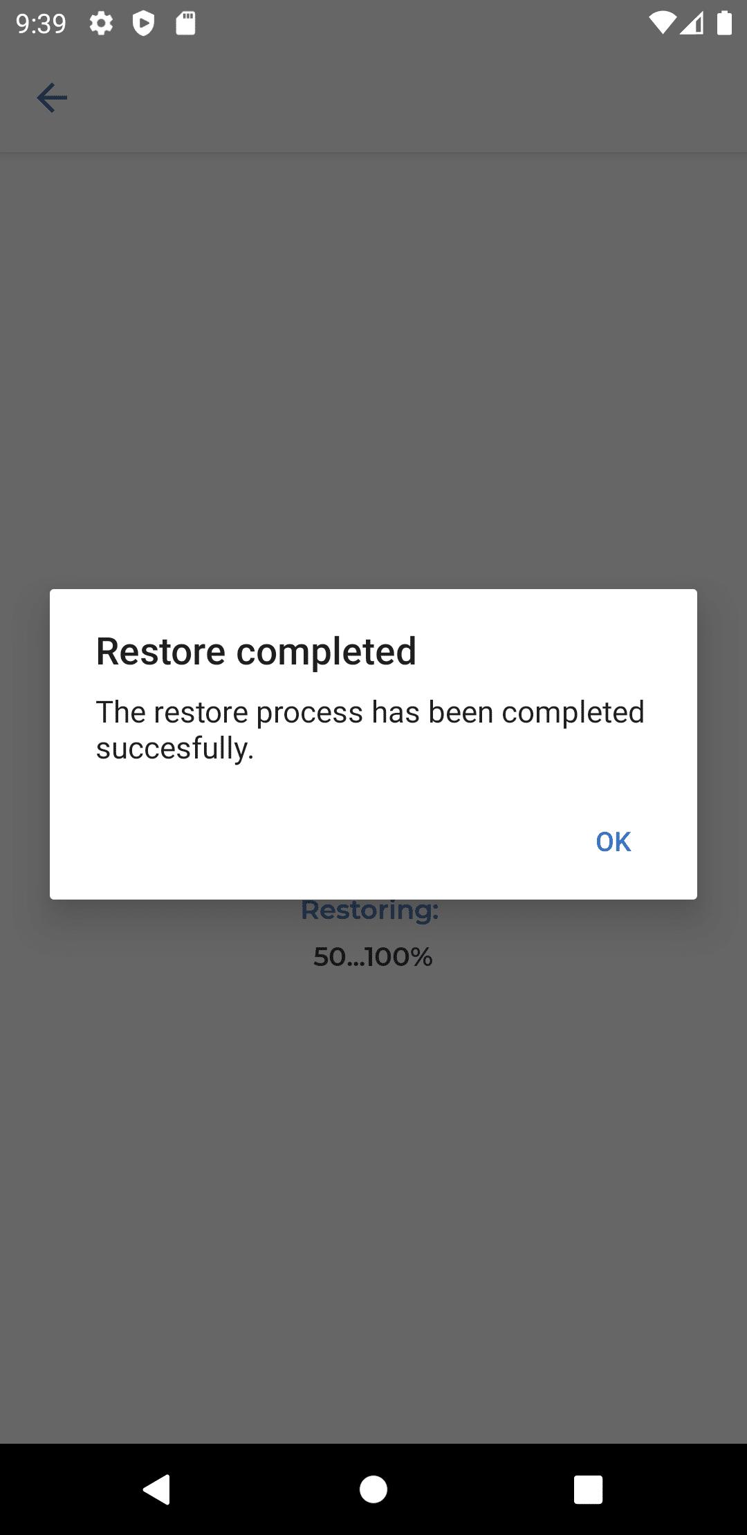 Datenwiederherstellung abgeschlossen (Android)
