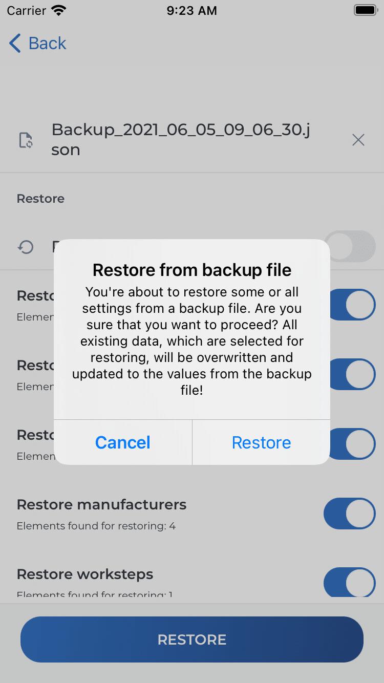 Warnung bei Wiederherstellung (iOS)