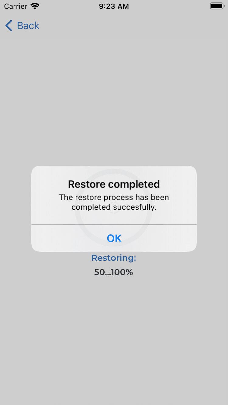 Datenwiederherstellung abgeschlossen (iOS)